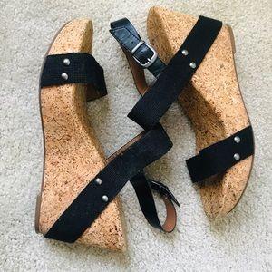 Shoes - Black Criss Cross Wedges